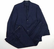 Hugo Boss Selection Super 160 Navy Blue 3 Button Pinstripe Suit Men's sz 40