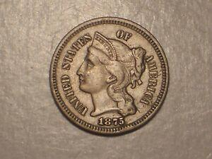 1875 Three Cent Piece (VF/XF, Scarcer, & Attractive)
