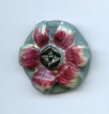 X-LG VINTAGE PLASTER button--PURPLE FLOWER on GRAY/BLUE BASE--1 1'2""