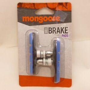 New BLUE Mongoose BMX Bicycle BRAKE PAD SET Linear Pull 2 PADS