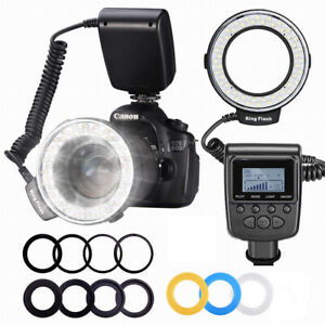 Macro LED Ring Flash With 9 Pcs Adapter Rings & Flash diffuser For Canon Nikon
