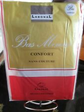 "BAS MOUSSE HELANCA POLYAMIDE MADE IN FRANCE ""LABONNAL"" GRIS VINTAGE TAILLE 4"