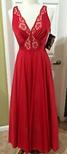 New listing Olga Vintage Red Nightgown Nylon Lace Bodice Bodysilk Negligee Gown Size L