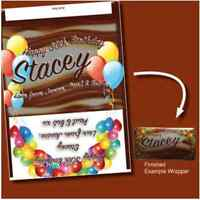 PERSONALISED CHOCOLATE BAR WRAPPER FITS GALAXY Birthday Balloon party GIFT -G1