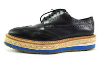 Prada Wing-Tip Espadrille Oxford Black Leather Shoes, Women's Shoes Size US 6.5