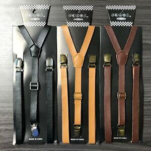 3x Leather assorted Vintage Skinny Adjustable 3 Clips Gold Clips-on Suspender