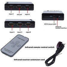 5 PORT HDMI Splitter Switch Selector Hub +IR Remote+USB Cable 1080p For HDTV PS3