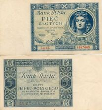 1 UNC-AU 5 Zlotych Zloty 2 January 1930 Banknote Poland