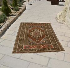 Vintage Rug, Ethnic  Red And Brown Moroccan Rug , Colorful  Moroccan Rug,
