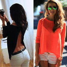 Fashion Women Backless Chiffon Shirt Loose Asymmetric Tops Blouse Shirt Fv