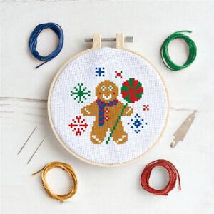 Christmas Cross Stitch Hoop Kit | Gingerbread Man Design