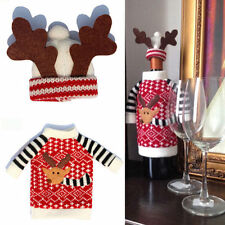2Pcs Christmas Wine Bottle Cover Clothes Xmas Santa Reindeer Table Decor Party