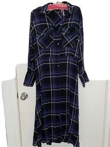 massimo dutti Blue Check Shirt  Dress Size M 12-14
