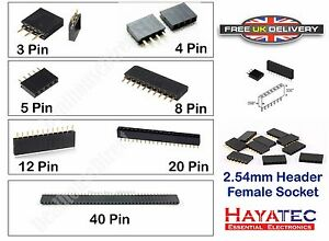 Single Row Female Straight Pitch Headers PCB Pin Sockets Arduino Pi Boards 10 15