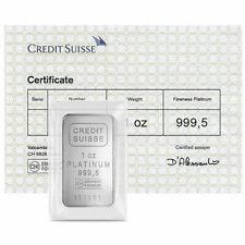 1 Troy oz Credit Suisse .9995 Fine Platinum Bar w/ Assay