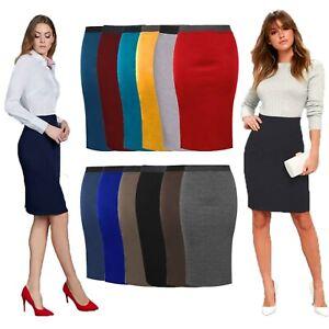 Women Midi Pencil Skirt Ladies Plus Size Bodycon Office Skirt  Uniform UK 8-26
