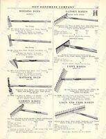1920s Antique Hardware Ad Garden Lawn Rakes Weeding Hoes Garden Trowels Seeders