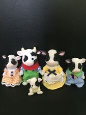 Sylvanian Families Friesian Buttercup Cow Family Figure Bundle With Baby Rare