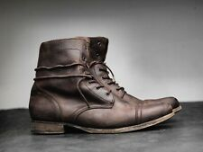 All Saints Cropped Military Boots 46 uk12 us13 brown leather