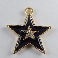 Gold & Schwarz Legierung Emaille Stern Charme Anhänger Handwerk Kristall 10X