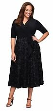 Alex Evening Plus Size 20W Crossover Black Dress Gown Sequined Swirl Rosette