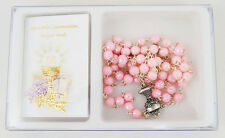 First 1st Holy Communion Gift Set How To Pray Rosary Beads Pink For Girl