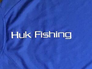 Vintage Shirt~HUK Performance Fishing~Blue~Size M~Unisex~ NICE!