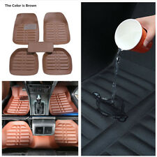 5X Brown PU Leather Car Floor Mats W/Liner Carpet All Weather Mat Pedal Design