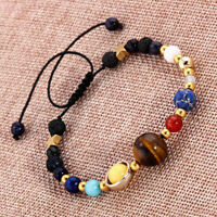 Eight Planet Bead Bracelet Men Women Natural Stone Adjustable Yoga Chakra Bangle