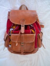Moroccan handmade leather backpack/tan packback