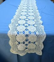 "White Cotton Crochet Lace Table Runner Dresser Scarf 13 x 71"" Rectangle"