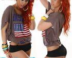 ♥ Lässig Damen Flatter Arm T Shirt Top US Flagge Vintage Print 34/36/38 braun