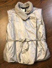 Norma Kamali Sleeping Bag Nylon Puffer Vest Silver Size L New With Tags $300