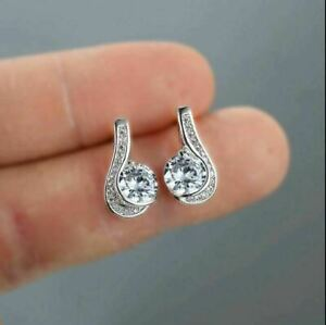 2.20Ct Round Cut VVS1 Diamond Solitaire Womens Stud Earrings 14K White Gold Over