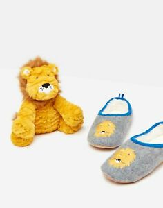 Joules Boys Gift Set Slipper And Soft Toy - Grey Lion