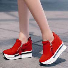 2018 Women's Ankle Boots Wedge Heel Trainers High Top Sneakers Zip Shoes Casual