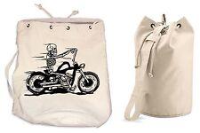 SKELETON RIDER DUFFLE BAG College Rucksack Gym Backpack Biker Motorbike Trike