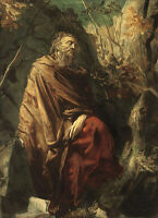 Excellent artwork Oil painting male portrait St.Jerome in landscape field canvas