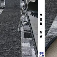 "moderner Velours Teppich Läufer ""MEDINA 97 grau""  80 cm breit NEU rutschfest"