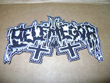 BELPHEGOR,IRON ON WHITE EMBROIDERED PATCH