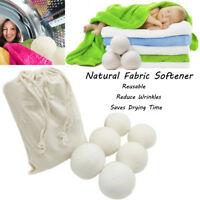 6Pc Premium Sheep Wool Dryer Balls Reusable Natural Fabric Cloth Softener 6CM RO