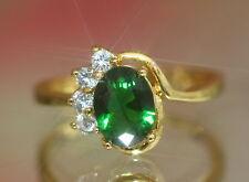 1.25ct Created Oval Emerald & Diamond Ring, Size M / 6.5