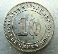 Straits Settlements 10 Cents 1891 lovely toned UNC.