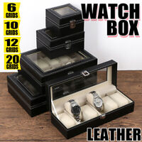 6/10/12/20/24 Grids Leather Watch Portable Display Case Box Storage Holder