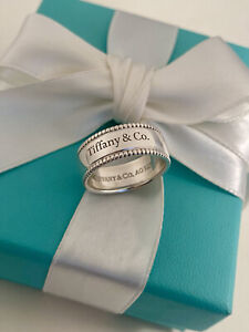 """Tiffany & Co Sterling Silver """"Tiffany & Co"""" Beaded Edge Wide Ring. Retired"""