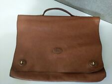 Gon Mens Leather Brief Case Business Hand made Conac Brown (14.5X11)made turkey