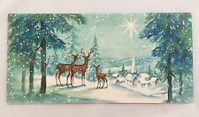Vintage Christmas Card Deer Family Glitter Trees Snow Forest Houses Church Town