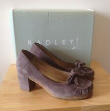 "UK 8 Ladies Shoes Radley Taupe Suede Court EU 41 Beckton Designer Slip 3"" Heels"