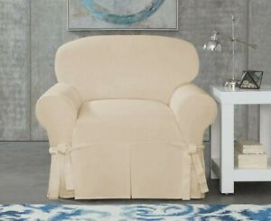 Sure Fit Designer Twill chair Slipcover Off white ( natural ) color slip cover