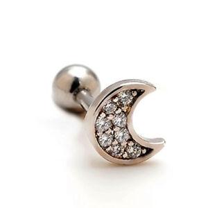 Crescent moon tragus cartilage helix bar ear stud 6mm clear gem